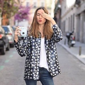 Zara Blue & Silver Sequin Button Down Jacket